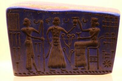 Ancient Sasanian Lapis Lazuli Carved Plaque Royal Family Greetings Intaglio