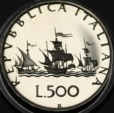 Italy 500 Lire, 1985 Silver Proof~RARE~15,000 Minted~Columbus's Ships~Free Ship
