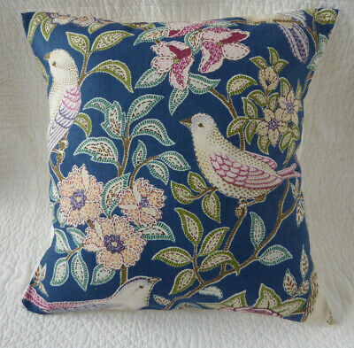 16 inch Cushion Cover Blue Pink Green Bird Arts & Crafts Style Print 40cm New