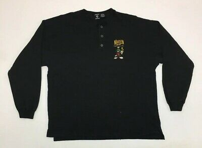 Vintage Looney Tunes Marvin the Martian Henley Embroidered Shirt Cartoon SZ L
