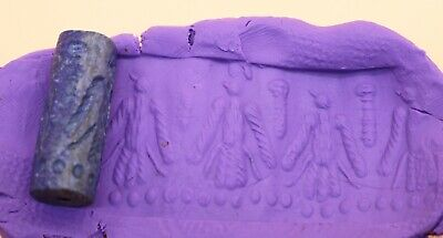 Fighters Marching Sassanian Lapis Lazuli Ancient Cylinder Seal - 4Th A.d.