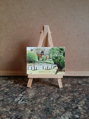 """Original Watercolour Painting ACEO """"Riverside Church""""  by Colin Coles"""