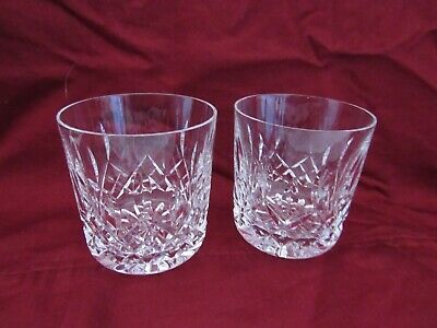 Lot 2 Waterford Lismore Old Fashioned Fashion Glasses SIGNED