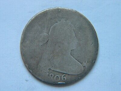 1806 50C Draped Bust Silver Half Dollar Pointed 6 No Stems