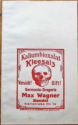Drug/Pharmacy 1910 German Pill Pouch w/Skull - Max Wagner, Stendal, Germany