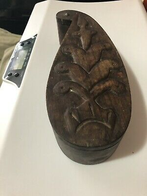 Origin Unknown Wooden Tribal Box with Lid Carving