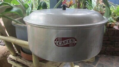 Vintage Aluminium extra Large Cake Tin 1950s,country look,stands alone