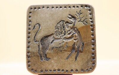 Indus Valley Intaglio Lion Attacking Man Terra-Cotta Large Seal - 2000 Bc