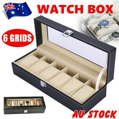 6 Grids PU Leather Watch Box Display Case Jewelry Collection Storage Holder