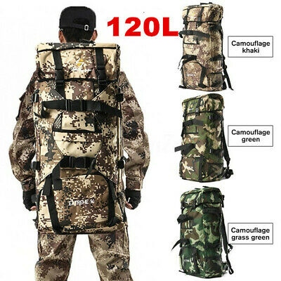 120L Military Tactical Backpack Rucksack Travel Bag Camping Hiking Outdoor Sport