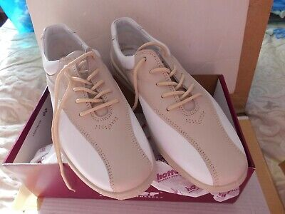 Womens Hotter Shoes White/Soft Beige Size 8 Exf Brand New Boxed