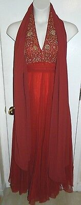 Mid Century Red Orange Hand Beaded Formal Evening Dress Three Pieces Fits Like 4