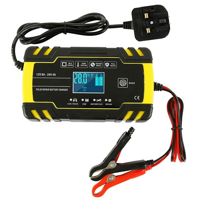 Dandelionsky Car Battery Charger and Maintainer, 12V 24V 3-Stage Intelligent LCD