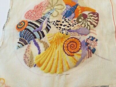 "Seashell Needlepoint Canvas PARTIALY Complete  17.5""x 18"""