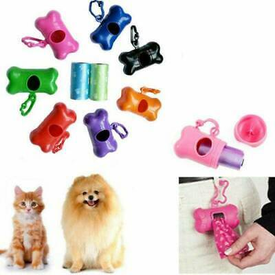 50 Doggy Bags Bone Shape Pet Dog Waste Poo Garbage Bag Dispenser Clean Holder