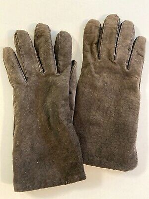 Aris Brown Suede Leather Winter Gloves Fleece Lining Women's Size L
