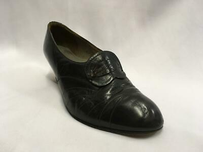 Vintage 1940s  Black Leather Shoes with buckle detail Size 5  utility WW2 VE day