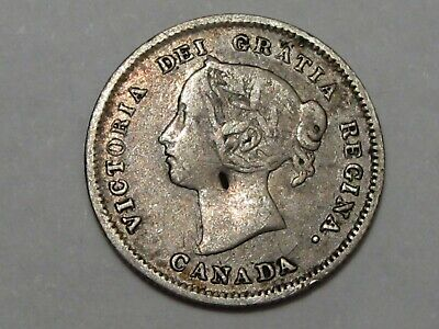 "1886 Silver Canadian 5 Cent Coin (Small ""6""). Canada Victoria.  #69"