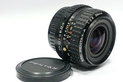 Pentax 28mm 1:2.8 SMC Pentax-A prime camera lens, Mint-, K series camera mount