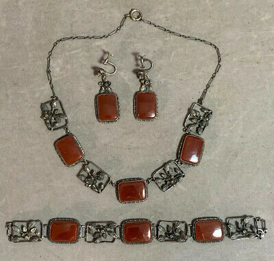 Lot (3) Antique ART DECO Earring CARNELIAN Old STERLING SILVER Bracelet NECKLACE
