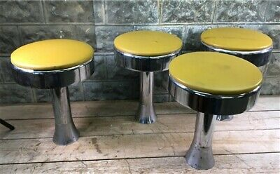 4 Retro Bar Diner Stools, Chrome Soda Fountain Store, Mid Century 50s 60s 70s m,