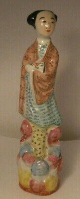 "Antique Chinese 6 1/2"" Porcelain Woman Geisha Figurine Republic Period NICE**"