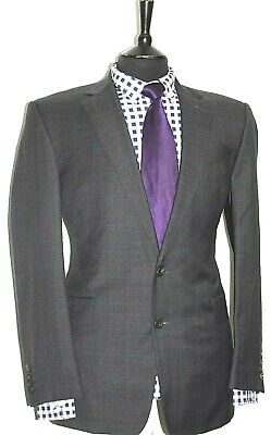 Luxury Mens Chester Barrie Savile Row Grey Check  Suit 42R W36 X L32