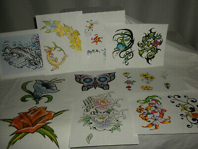 "(10) Reproduction Color 8 ½""x11"" TATTOO FLASH-Various Designs Unmarked"
