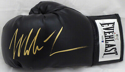 Mike Tyson Autographed Black Everlast Boxing Glove Lh Signed Gold Beckett 159130