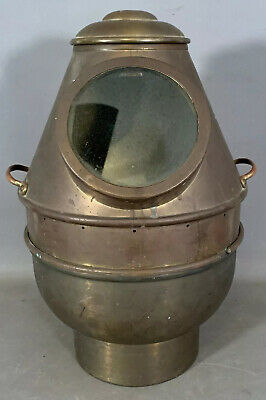 Antique BRASS Old SHIPS BINNACLE Nautical COMPASS Window MARITIME SALVAGE Lamp