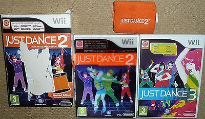 JOB LOT 2 x NINTENDO Wii & U GAMES BOXED Just Dance 2 Limited Edition Promo + 3