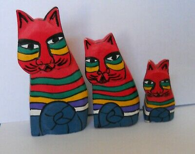 FOLK ART Colorful Cat Family Mom Dad Baby WOODEN Hand Painted & Carved Set of 3