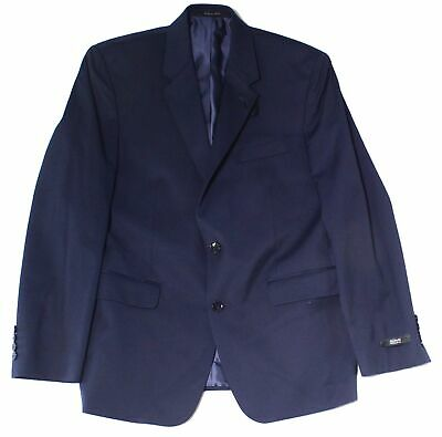 Alfani Solid Navy Blue Mens Blazer Size 40 Long Two Button Regular Fit $360 130