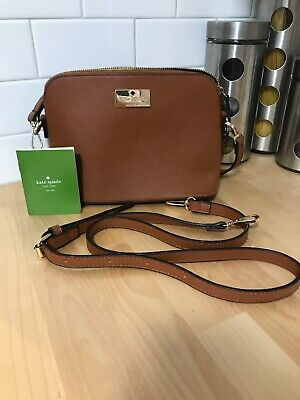 Brown Leather And Gold Kate Spade New York Purse With Long Strap And Short Strap