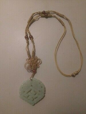 Antique Chinese Jade Pendant Necklace Carved Fish Circa 1900