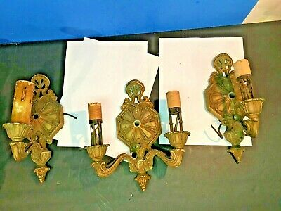 Welsbach Co 1910's Art Nouveau Light Sconce DOUBLE ARM CENTER 2 SINGLES