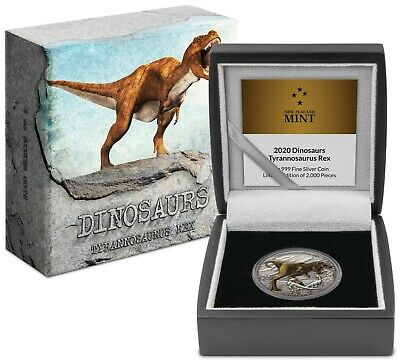 2020 Dinosaurs - Tyrannosaurus Rex 1oz Silver Coin T-Rex - Mintage of 2,000