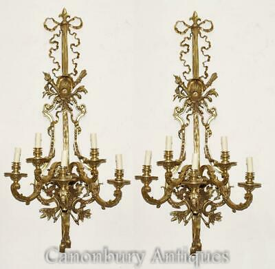 Pair French Empire Wall Lights Architectural Sconces Ormolu Bronze