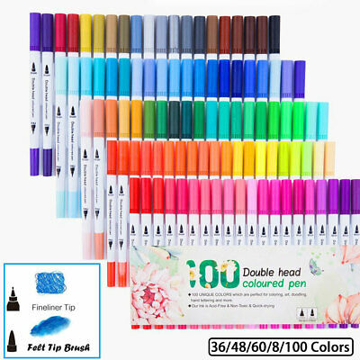 Dual Tip Brush Artist Colouring Pens Felt Markers Fine Bullet Nibs Drawing New