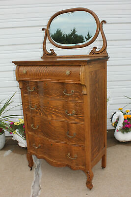 Antique Quartersawn Oak Serpentine High Boy Dresser 5 Dovetail Dwrs Mirror & Key