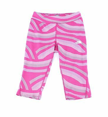 The North Face Girls Leggings Pink Size Large L Capri Printed Logo $40 237