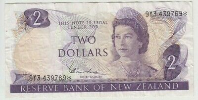 Banknote New Zealand $2 star replacement serial number 9Y3 439769, fine