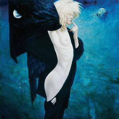 """Surreal Dark Angel Wall art Oil Painting Picture Printed on canvas 16""""x16"""" L887"""