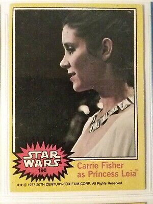 Vintage 1977 Star Wars #190 Carrie Fisher As Princess Leia Card Collectible