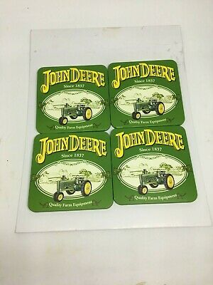 Official John Deere Coasters - Metal with Cork Backing - Excellent - E1