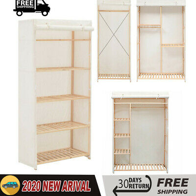 Fabric Canvas Wardrobe Clothes Hanging Rails Shelves Drawers Storage Bedroom