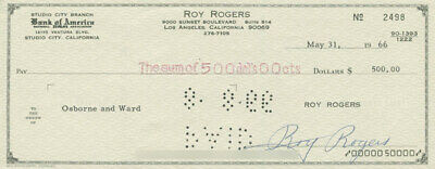 Roy Rogers - Autographed Signed Check 05/31/1966