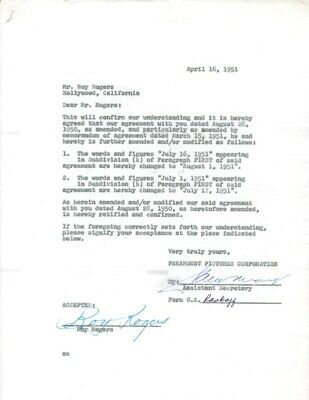 Roy Rogers - Document Signed 04/16/1951