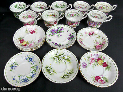 Royal Albert Flower Of The Month, Assorted Single Tea Cups & Saucers, England