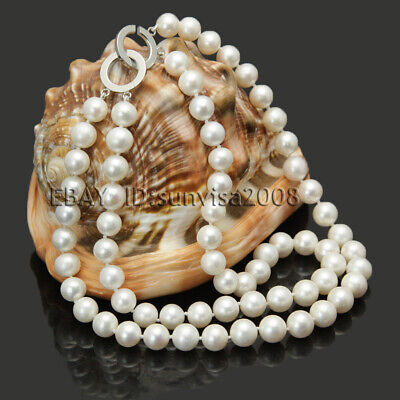 """2 row 8-9mm natural freshwater cultured white genuine pearl necklace 17""""-18"""" NEW"""